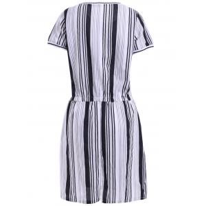 Casual Jewel Neck Short Sleeve Striped A-Line Dress For Women -