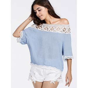 Lace Insert Off The Shoulder Blouse -
