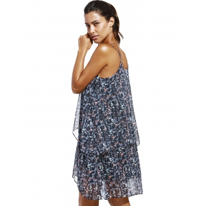 Fashioable Flower Printing Rippled Edge Spaghetti Strap Dress For Woman - COLORMIX XL