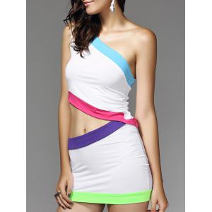 Color Block Short Two Piece Club Dress - White - S