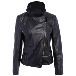 Stylish Turn-Down Collar Long Sleeve PU Leather Jacket For Women