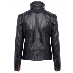 Stylish Turn-Down Collar Long Sleeve PU Leather Jacket For Women -