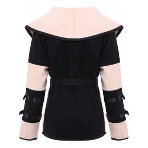Stylish Turn-Down Collar Color Block Long Sleeve Coat For Women -