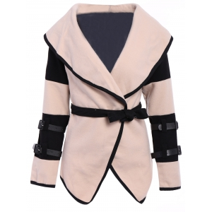 Stylish Turn-Down Collar Color Block Long Sleeve Coat For Women - Apricot - 2xl