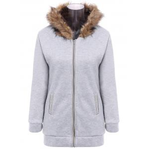 Faux Fur Trim Hooded Zip Up Coat