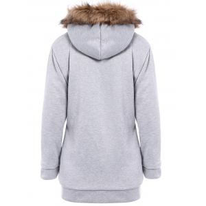Faux Fur Trim Hooded Zip Up Coat - LIGHT GRAY M