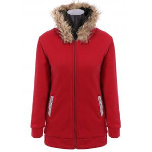 Faux Fur Trim Hooded Zip Up Coat - Red - L