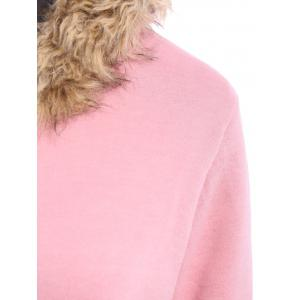 Faux Fur Trim Hooded Zip Up Coat - PINK L