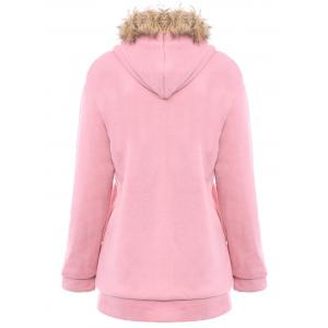 Faux Fur Trim Hooded Zip Up Coat - PINK M