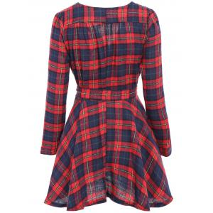 Stylish V-Neck Checked Print Waisted Corset Long Sleeve Women's Dress - CHECKED ONE SIZE(FIT SIZE XS TO M)