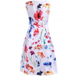 Women's Refreshing Jewel Neck Sleeveless Floral Print Dress - WHITE XL