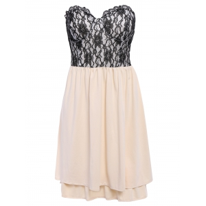 Lace Panel Short Strapless Formal Dress