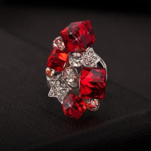 Faux Ruby Rhinestone Star Ring - RED ONE-SIZE