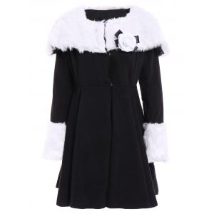 Noble Turn-Down Collar Long Sleeve Faux Fur Spliced Flounced Women's Coat - Black - Xl