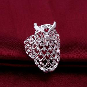 Owl Shape Hollow Out Ring - SILVER ONE-SIZE
