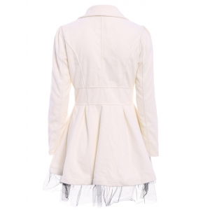 Lace Hem Double Breasted Woolen Blend Trench Coat Dress - WHITE S