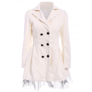Lace Hem Double Breasted Woolen Blend Trench Coat Dress - White - S