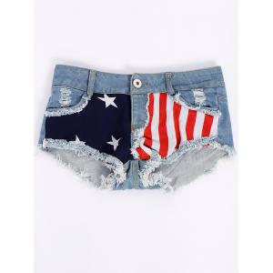 Low-Waisted American Flag Denim Micro Shorts