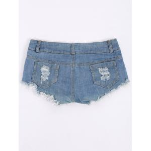 Low-Waisted American Flag Denim Micro Shorts -
