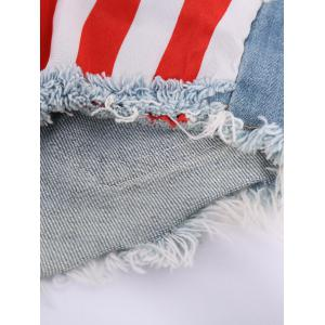 Low-Waisted American Flag Denim Micro Shorts - COLORMIX S