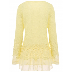 Chic Round Collar Long Sleeve Lace Spliced Women's Blouse - BEIGE S