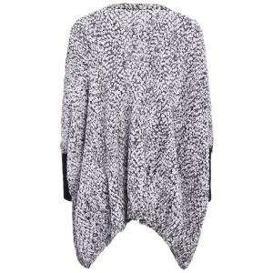 Batwing Sleeves Round Neck Openwork Knitting Splicing Polar Fleece Loose-Fitting Casual Women's Knitwear - GRAY ONE SIZE