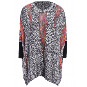 Batwing Sleeves Round Neck Openwork Knitting Splicing Polar Fleece Loose-Fitting Casual Women's Knitwear - Gray - One Size