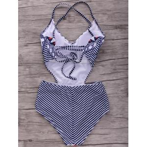 Stylish Cami Geometric High Waist One-Piece Women's Swimwear -