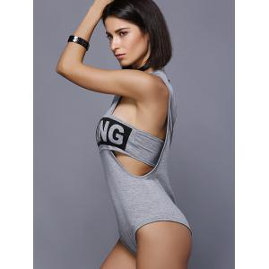 Cut Out Graphic Bodysuit - GRAY XL