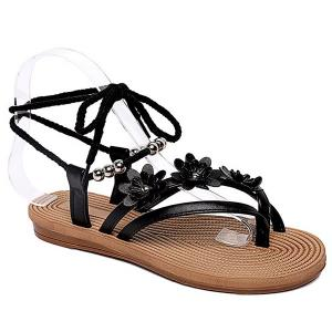 Sweet Beading and Flowers Design Sandals For Women