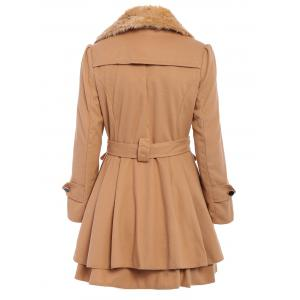 Stylish Turn-Down Neck Long Sleeve Spliced Button Design Lace-Up Women's Coat -