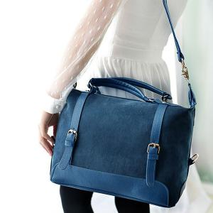 Street Style Splice and Buckles Design Women's Tote Bag -