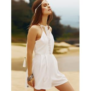 Trendy Crochet Detail White Women's Romper -