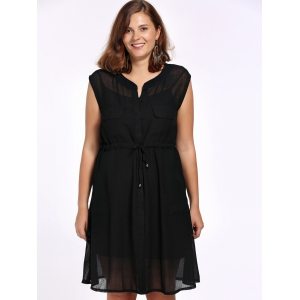 Chic Plus Size Cami Dress + Sleeveless Solid Color Cardigan Women's Twinset -