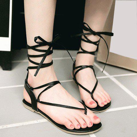 Lace Up Calf Thong Sandals - BLACK 37