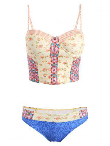 Latest Spaghetti Strap Printed Cropped Tank Top and Briefs Tankini For Women