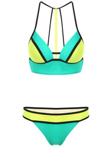 Cheap Spaghetti Strap Hit Color Cut Out Women's Bikini Set