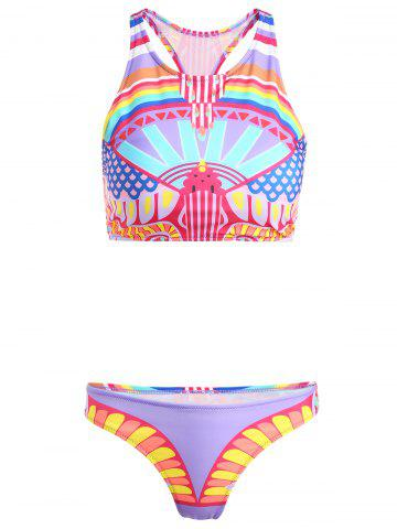Best High Neck Printed Two-Piece Women's Swimsuit