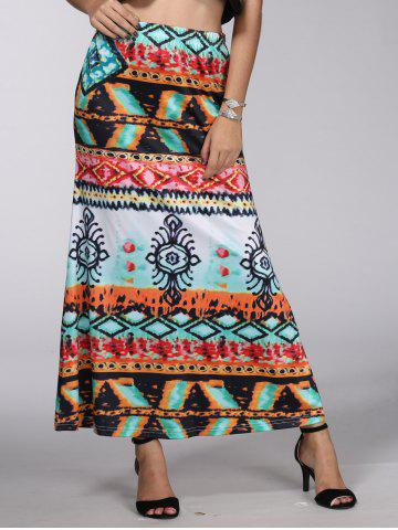 Cheap Bohemian Mid-Waist Mystery Painting Maxi Skirt For Women