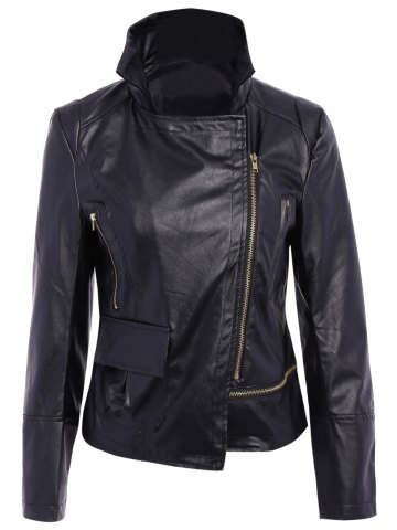 Shops Stylish Turn-Down Collar Long Sleeve PU Leather Jacket For Women BLACK L