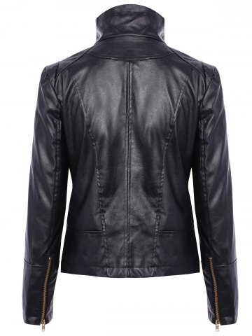 Sale Stylish Turn-Down Collar Long Sleeve PU Leather Jacket For Women - L BLACK Mobile