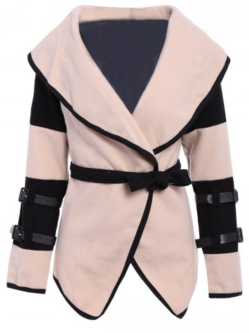 Best Stylish Turn-Down Collar Color Block Long Sleeve Coat For Women APRICOT 2XL