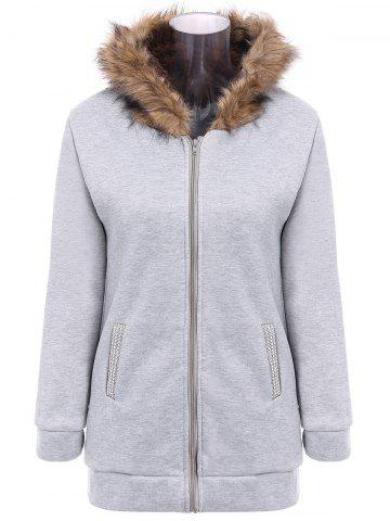 Cheap Faux Fur Trim Hooded Zip Up Coat LIGHT GRAY L