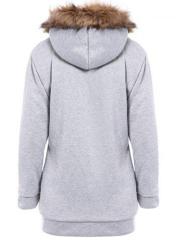 Sale Faux Fur Trim Hooded Zip Up Coat - LIGHT GRAY L Mobile