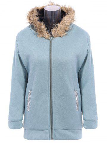 Sale Faux Fur Trim Hooded Zip Up Coat - M PEA GREEN Mobile