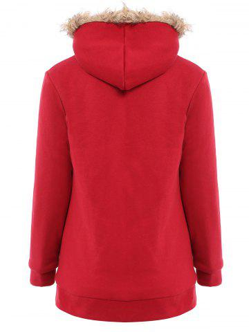 Affordable Faux Fur Trim Hooded Zip Up Coat - M RED Mobile