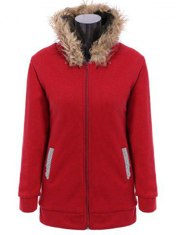 Affordable Faux Fur Trim Hooded Zip Up Coat - RED L Mobile