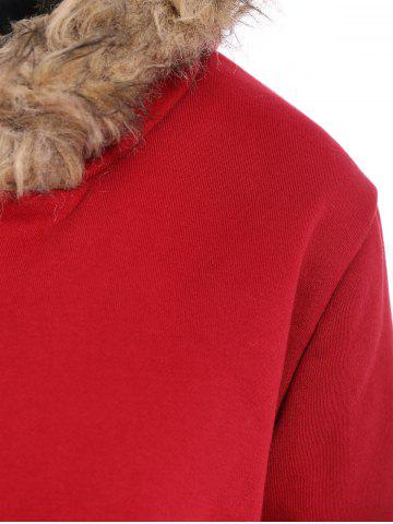 Fashion Faux Fur Trim Hooded Zip Up Coat - RED L Mobile
