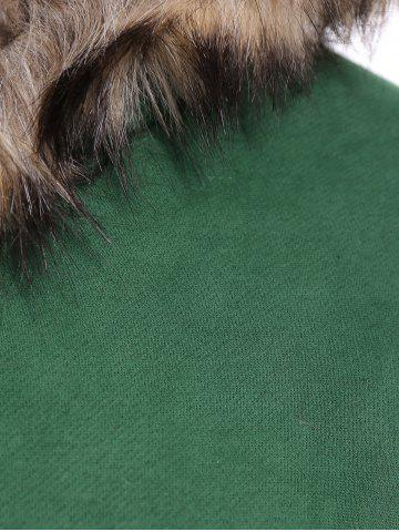 Online Faux Fur Trim Hooded Zip Up Coat - M GRASS GREEN Mobile