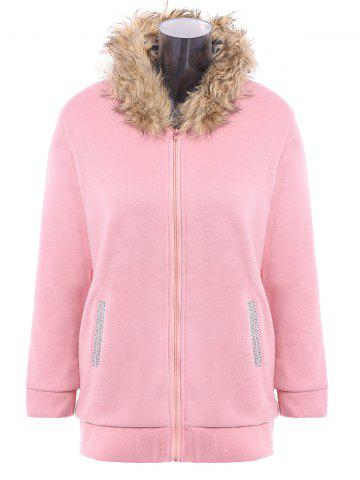 Discount Faux Fur Trim Hooded Zip Up Coat - PINK L Mobile